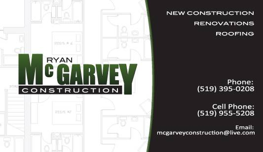 Ryan McGarvey Construction Business Card